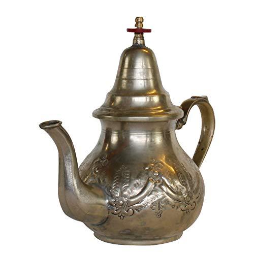 Casa Moro Tetera marroquí antigua de plata de 1 litro | tetera de latón antiguo | Artesanía de Marruecos | Decorada a mano con patrones árabes | TA6029
