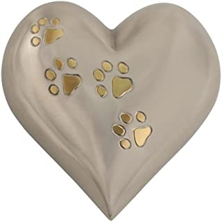 Silverlight Urns Pewter with Gold Paw Prints Medium Heart Pet Urn for Ashes, Brass Heart Shaped Pet Urn, 5.5 W x 5.5 H (Inches)