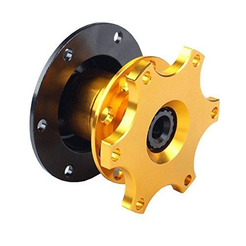 Triclicks Universal Car Snap-Off Lenkrad Schnellverschluss Quick Release 6 Loch Hub Adapter Boss Kit (Gold)