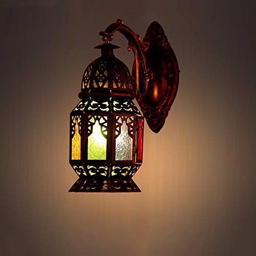 Hai Ying Marokkaanse lantaarn mediterrane wandlamp Europese retro wandlamp van smeedijzer, kleurrijke glazen wandlamp voor restaurants bar cafe