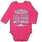 Shirtracer Sprüche Baby - Scheiß aufs Pferd echte Prinzen kommen mit dem Motorrad - 6/12 Monate - Fuchsia - Baby Motocross - BZ30 - Baby Body Langarm