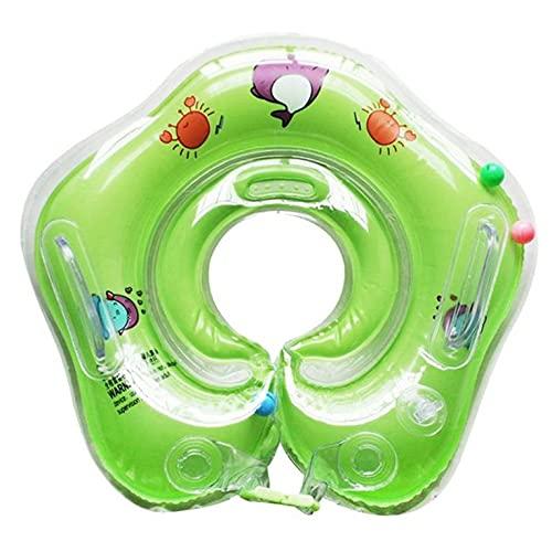 CNmuca Banheira inflável para bebê Natação pescoço Float Círculo de segurança ajustável Anel de pescoço de natação para bebê Acessórios de natação para bebê verde