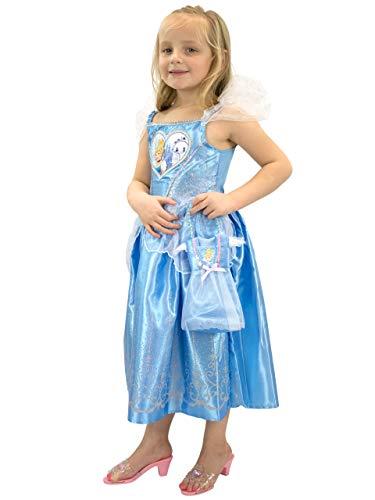 Disney Mädchen Cinderella Kostüm Kleid und Tasche Blau 116