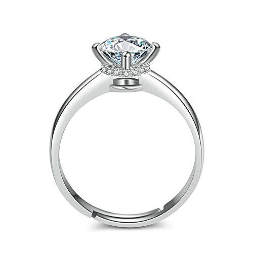 anello donna grande regolabile 24 Joyas - Anello con brillante regolabile in argento Sterling 925