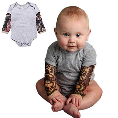 Wywei Einteiler für Jungen, Tattoo-Ärmel, 3-24 Monate, Grau/Schwarz Babykleidung Strampler (Grau, 80)