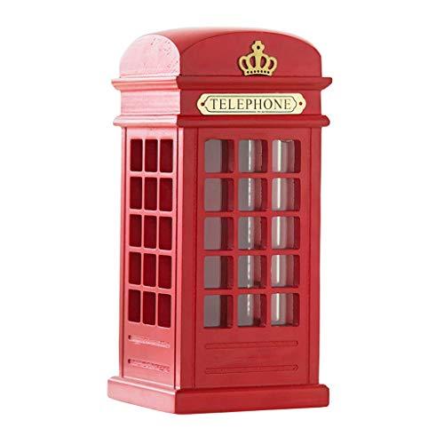 WINON Huchas Ahorro del Banco guarro Olla Grande Cabina de teléfono Piggy Bank Creativo Adultas de Madera Cambio Latas Net Home Red Caja de la decoración Dinero Tarro de Dinero (Color : Red)