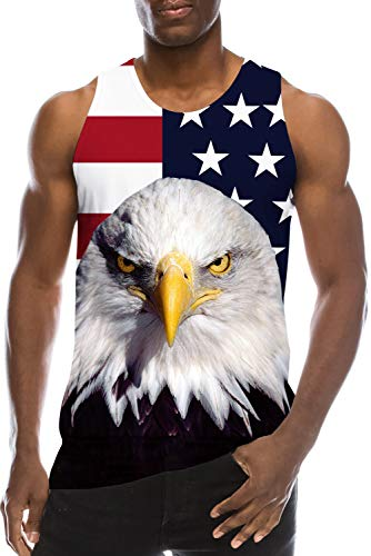 Bro Guys Fancy America Flag Print Tank Top for Men Gym Workout Sleeveless Shirt Cool Tops Tees 4th of July Festival Fashion Graphic Surfing Swim Celebration Party Outfits XXL 2XL