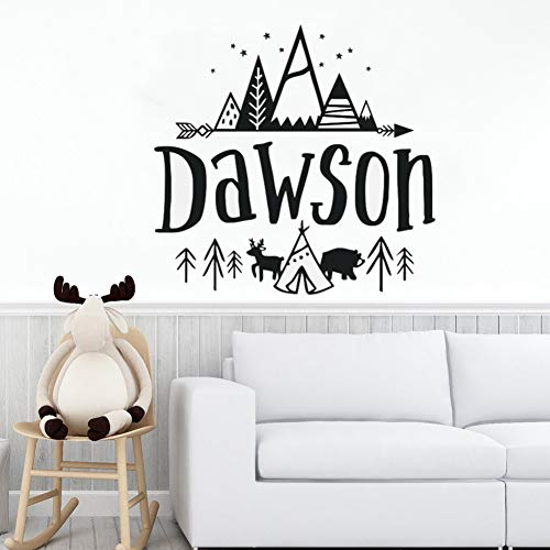 JTYQT personaliseerbare muursticker voor kinderen, motief bergen, rustiek design, vinyl, sticker, babydecoratie AY1220
