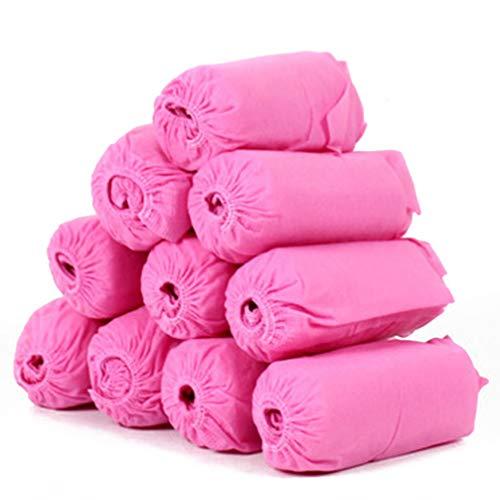 Clispeed 100 stuks hygiënische wegwerp-schoenovertrekken van kunststof voor vloerbedekking, bescherming voor medische doeleinden, blauw, Roze.