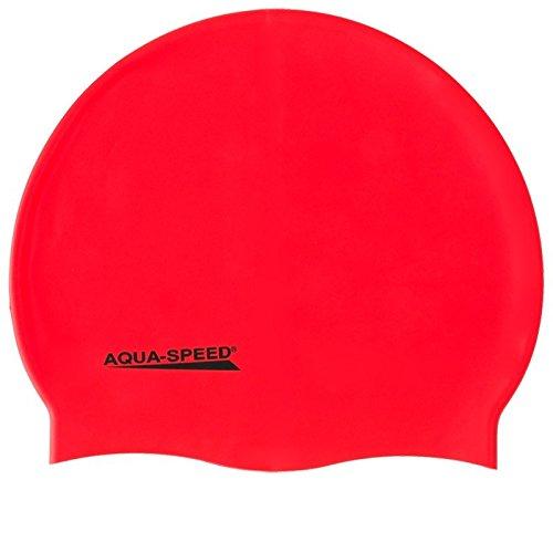 Aqua Speed Badekappe Super-Stretch Damen & Herren | Bademütze wasserdicht | rote Badehaube Mädchen | Schwimmkappe Jungen | Schwimmen | Waterproof Swim Cap | Swimming | Silikon | rot 31 | Mega