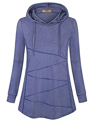 Miusey Active Hoodie for Women,Sport Fitness Tunic Pullover Sweatshirt Flowy Yoga Gym Athletic Appreal Running Shirts Plus Outfit Biking Light Weight Exercise Clothes Purple XXL