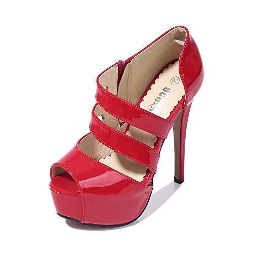 Phorecys - Sandalias de tacón alto para mujer con plataforma y puntera abierta, para fiesta, formal, con cremallera lateral, tacón, color Rojo, talla 38.5 EU