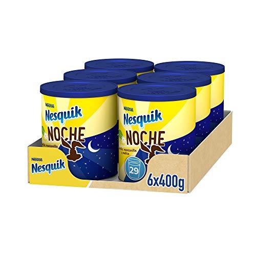 NESTLÉ NESQUIK NOCHE Cacao Soluble Instantáneo Lata - Paquete de 6 x 400 gr - Total: 2.4 kg