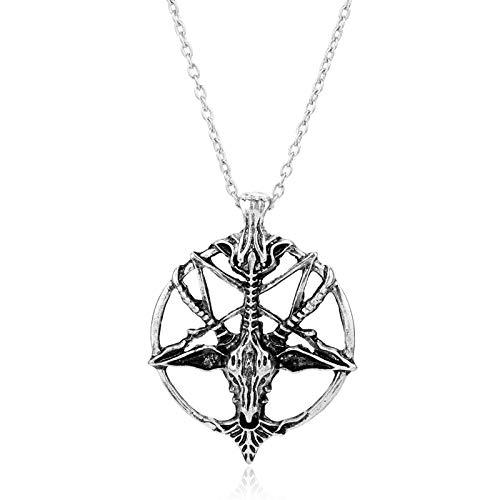 VAWAA Vintage Kuroshitsuji Pentagrama Cráneo Redondo Cabeza De Cabra Collar Diablo Pan Dios Collares Huecos Ovejas Cráneos Colgante para Hombres