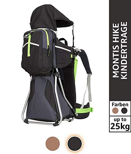 Montis Hike Kraxe Wandertrage bis 25kg Gewicht mit vielen Extras & Erweiterungsmöglichkeiten - inkl. Stirnkissen & Zusatzrucksack - Premium Kindertrage geeignet für beide Elternteile, SCHWARZ