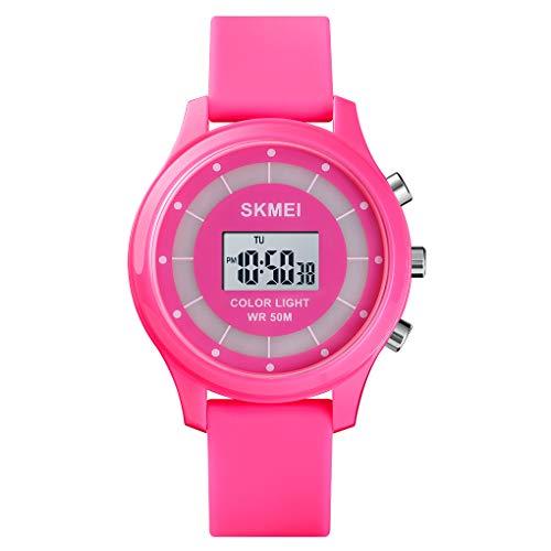 A ALPS Kinder Uhr,Sport Outdoor Kinderuhr Mädchen mit Wecker/Kalender/LED-Licht/Stoppuhr Silikon Armband Uhren,Digital 5ATM Wasserdicht Armbanduhr, Kids Lernuhr Rose