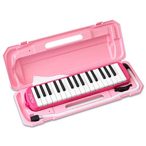 RiZKiZ 鍵盤ハーモニカ 32鍵盤 【ピンク】 授業で使える 卓奏用 立奏用 ふき口 ホース ケース付 ホールドベルト 名前シールスペース付