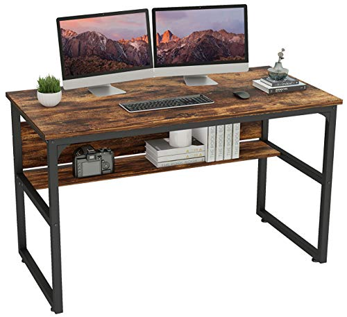 """Hanamichi Computer Desk, 55"""" Computer Table with Bookshelf, Large Space, MDF Durable Board, Environmental Paint, Stable Design for Home Office (Vintage Brown)"""