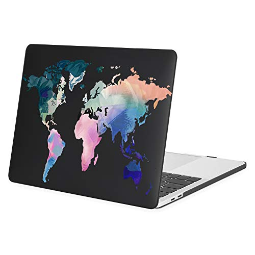 MOSISO MacBook Pro 13 inch Case 2020 2019 2018 2017 2016 Release A2338 M1 A2289 A2251 A2159 A1989 A1706 A1708, Plastic Map Hard Shell Case Compatible with MacBook Pro 13 inch, Black
