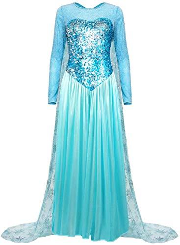 DONGYAO Disfraz de princesa para mujer, color azul Elsa para disfraz de...