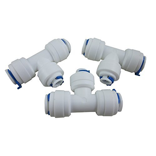 DIGITEN 3/8 3/8 1/4 3-Way Reducing Tee Tube Quick Connect for RO Reverse Osmosis (Pack of 3)