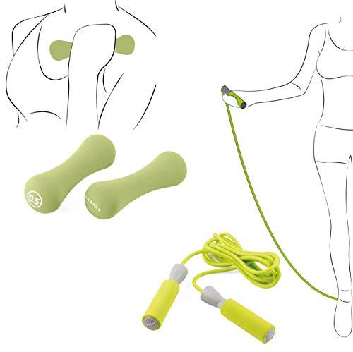 ISSAGE – FITDUMB-Jump Pesas Fitness de 0.5KG (Dos Unidades) + Cuerda Fitness para Saltar. Mancuernas con Revestimiento de Goma y Cuerda con Mango de Espuma.