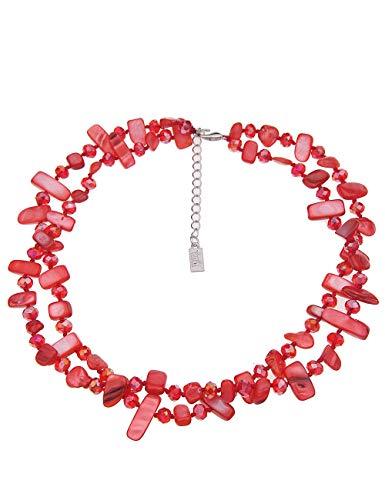 Leslii Kurze Damen-Kette Koralleninsel Statementkette Perlmutt-Schmuck Glasperlen-Kette rote Halskette Modeschmuck Länge 47cm corallen-rot