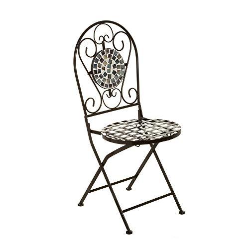 Silla de jardín de Metal con Mosaico de cerámica Negra rústica - LOLAhome