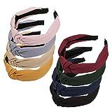 FLOFIA 8pcs Diademas Pelo Turbantes Mujer Tela Nudo Anchas Bandas de Pelo para la Cabeza Cabello para Mujer Chica Niña Accesorios de Pelo 8 Colores Variados