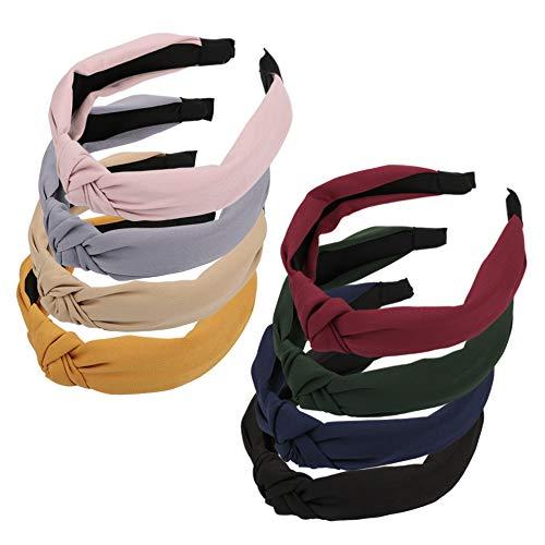 8pcs Serre-têtes Femme Cheveux Bandeau Large Élastique à Nœud en Tissu Headbands Vintage Bande de Cheveux Extensible Accessoire de Coiffure Décoration pour Filles Femmes Fête Mariage 8Couleurs