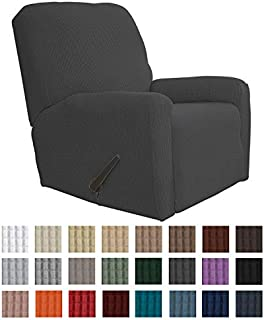 Easy-Going Recliner Stretch Sofa Slipcover Sofa Cover 4-Pieces Furniture Protector Couch Soft with Elastic Bottom Kids, Spandex Jacquard Fabric Small Checks(Recliner,Dark Gray)