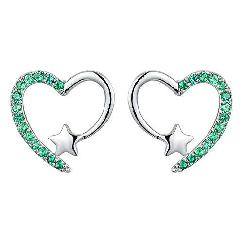 HFDHD Pendientes de Mujer en Forma de corazón, Pendientes de botón de corazón con circonita cúbica, Pendientes de Diamantes de Estrella hipoalergénicos Regalos de joyería para Mujer Green Silver