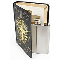 SUCK UK Buen Botella Acero Inoxidable Dentro De Un Libro | Petacas Originales Good Book, negro