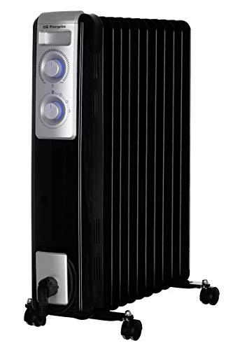 Orbegozo RN 2500 - Radiador de aceite, 11 elementos, 2000 W, luz LED, termostato regulable, recogecables, ruedas pivotantes