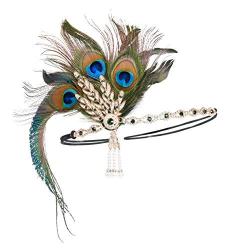 """Flapper-Stirnband im Stil der 1920er Jahre, Zubehör, Hochzeit, Kopfschmuck, Thema """"Great Gatsby"""", Haaraccessoires Gr. Einheitsgröße, 3-pfau"""