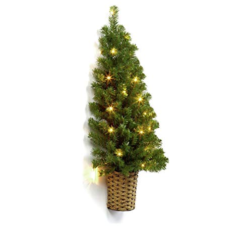 Xmas 90cm Artificial Realistic 20 White LEDs Pre-Lit Half Wall Christmas Tree w Timer