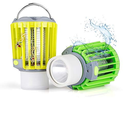 Albrillo 2er Pack Bug Zapper Camping Lantern - 4-in-1 Portable Camp Light, 4 Lighting Modes Flashlight, SOS Light, USB Rechargeable 2200mAh, IP67 Waterproof for Camping, Hiking, Outdoor Sports