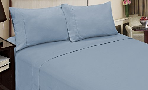 Home Dynamix Jill Morgan Fashion 4 Piece Solid Sheet Set, Full, Light Blue
