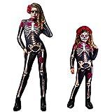 wetry Costume Squelette Femme Enfant Cosplay Combinaison de Halloween Déguisement Carnaval De Noël