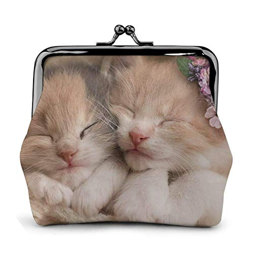 Sweet Animals Cute Cat Printed Mini Coin Purse Pu Leather Wallet Clutch Bag with Lo Clasp
