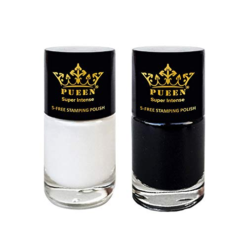 PUEEN Super Intense Nail Art Stamping Polish Must Have Color Collection - (805 Black Jack + 806 Pure White) 12ml each - BH000872