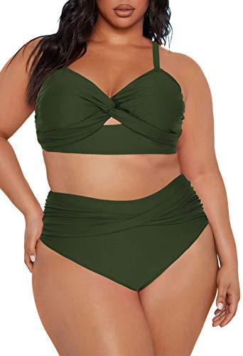 Kisscynest Women's Plus Size High Waist Swimsuit Knotted Front Bathing Suit Swimwear Army Green XL