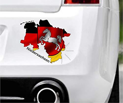 Sticker-Designs 10cm! Klebe-Folie Wetterfest Made-IN-Germany:Niedersachsen-Bundesland-Flagge D24 UV&Waschanlagenfest Auto-Aufkleber Profi-Qualität!