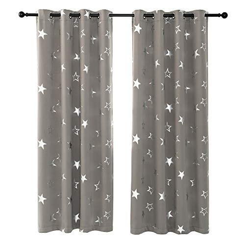 Anjee Blackout Curtains for Kids Bedroom 95 Inches Long Stars Grey Window Curtain Boys Room Darkening Thermal Insulated Nursery Drapes 2 Panels,Space Grey 52x95 Inches