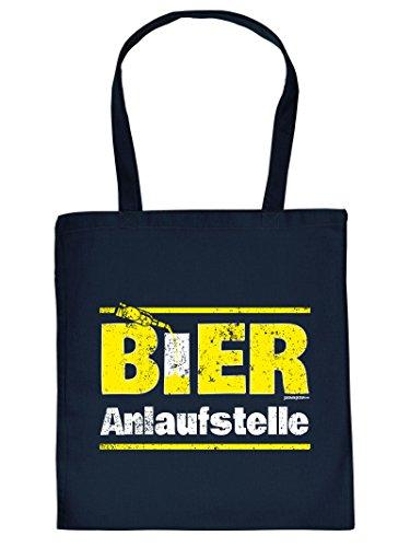 Hammer coole Geschenktasche für Biertrinker - Bier Anlaufstelle - Sprüche Einkaufstasche für echt harte Kerle Bierliebhaber Party Geschenk