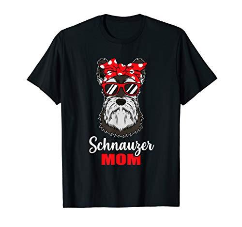 Lustiges Hunde Mama Geschenk Frauchen Schnauzer Hund T-Shirt