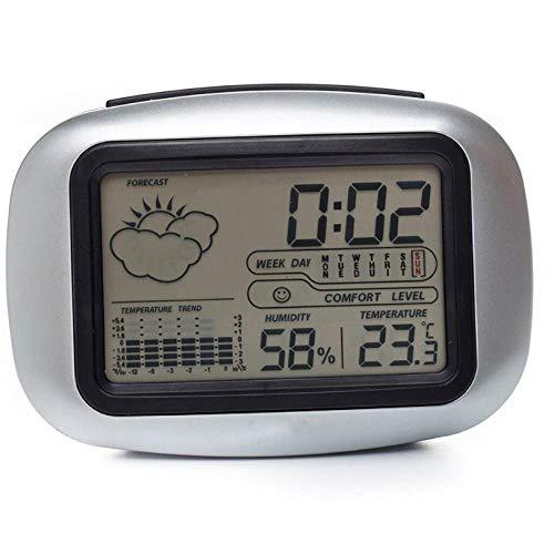 ZYZYY Plastic Digitale Tafel Desktop Bedzijde Wakker Snooze Alarm Klok Weerstation met Temperatuur Thermometer Vochtigheid Hygrometer