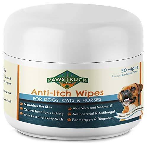 Anti-Itch Wipes for Dogs + Cats, Ketoconazole + Aloe - 50 Pads - Cat + Dog Hot Spot Treatment, Mange, Ringworm, Yeast Infection, Allergy Itch Relief, Acne, Deodorizer Antibacterial Antifungal, USA