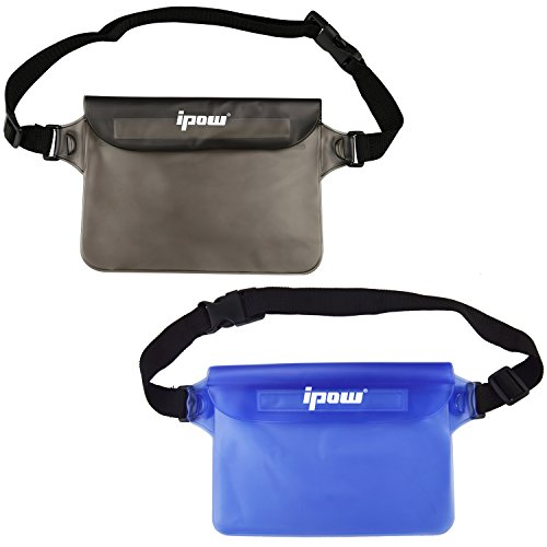 ipow [ 2 Pack wasserdichte Tasche Beutel Hülle Unterwassertasche Bauchtasche vollkommen für iPhone, Handy, Kamera, iPad, Bargeld, Dokumente vor Wasser schützen (Blau + Grau)