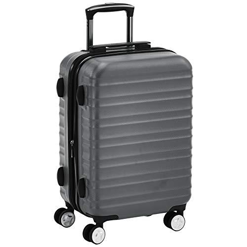 AmazonBasics - Trolley rigido di ottima qualità con rotelle pivotanti e lucchetto TSA integrato, 55 cm, grigio